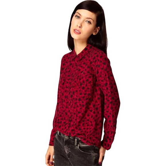 cafb406ae26f8c Equipment Tops - Equipment Signature Silk Blouse Shirt Red Leopard